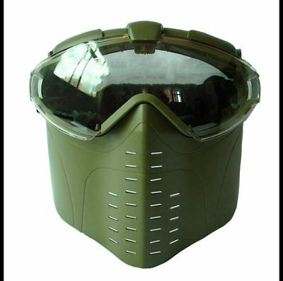 Green Goggle Military Full Face Tactical Mask with Fan Hunting Airsoft Safety