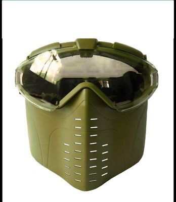 Sand Color Goggle Military Face Tactical Mask with Fan Hunting Airsoft Safety