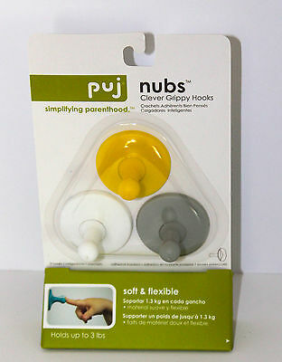 Puj Nubs-3 Pack White, Grey and Yellow-Qty 1 Pack-Wall Pegs for Hanging