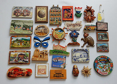 One Selected Wooden or Plywood Souvenir Fridge Magnet from Europe