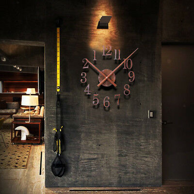 DIY Rust Wall Clock Retro Metal Clocks Mute Vintage Wall Watch 3D Stickers