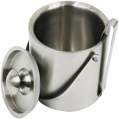 NEW! 2L Stainless Steel Double Walled Ice Bucket and Lid with Tongs Home Bar