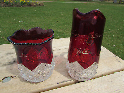Ruby Flash Glass Bowl & Pitcher Mrs. Geddes 1911 Large Heavy Pcs