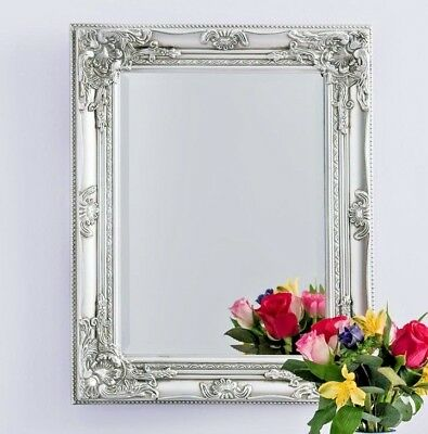 Silver Wall Mounted Mirror Vintage Ornate Style Hallway