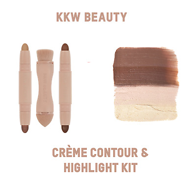 KKW BEAUTY | Creme Contour & Highlight Kit LIGHT | Shade Cream Sticks Brush Set