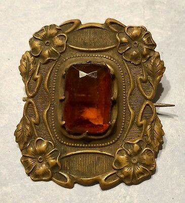 Antique Victorian Amber Glass Floral Brass Brooch Sash Pin-Estate