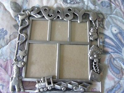 Pewter Baby Picture Frame W/toys