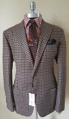New $1280 Rigatti Flannel Bay Napoli Plaid Jacket Blazer Mens 42 44 54 Eu 6Uk