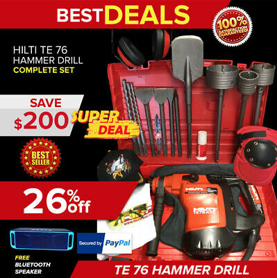 Hilti Te 76 Atc Hammer Drill, Preowned, Free Sid 2-A, Chisels, Extras, Fast Ship
