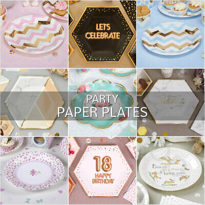 Party Paper Plates Disposable Birthday Party Tableware Catering Supplies - Pk 8