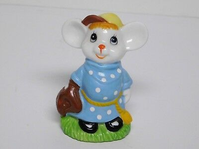 "Whimsical Mouse Figurine Bone China Made in Taiwan 3.25"" Tall Ex. Cond."