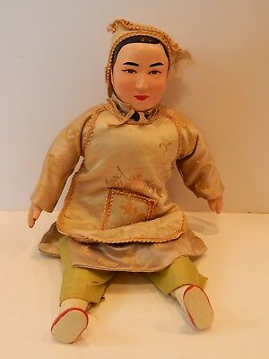 Vintage Chinese Asian Character Doll Composition & Wood