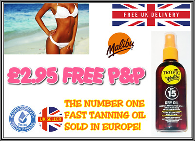 Malibu Fast Tanning Oil Dry Oil Spray Spf 15 Water Resistant All Over Inc Scalp