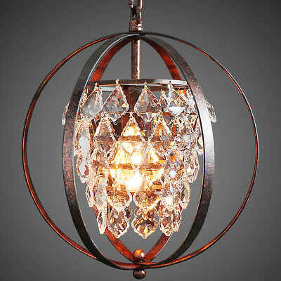 Starthi Bronze Mini Chandelier Globe Crystal Pendant Lamp 1-Light Ceiling Light