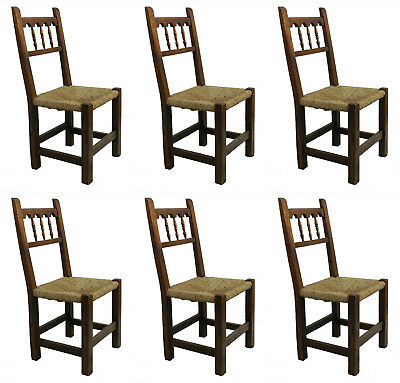 Six Dining Chairs French Vintage Shaker Rush Seats Country House Rustic