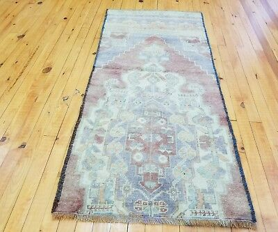 "Muted  Antique 1930-1940s Wool Pile 2'1""×4'7""  Natural Dye Tribal Fragment Rug"
