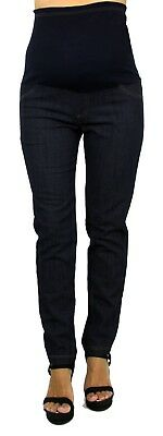 Maternity Jeans Pregnancy Pants Faux Front Packets Full Belly Band Skinny