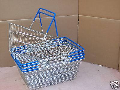 Pk of 5 Wire Shopping Baskets Blue Handles