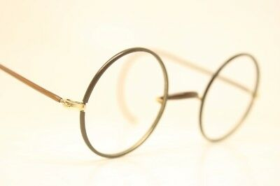 221e5aa5cb5e Windsor Eyeglasses Vintage Round Antique Gold   Brown Filled Lennon Glasses