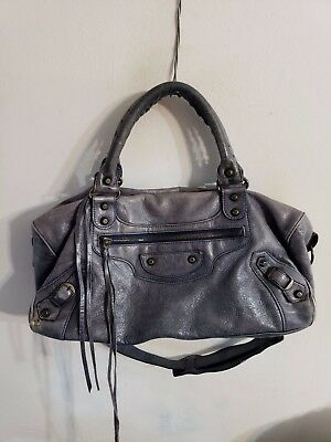 0186dd3a89 BALENCIAGA TWIGGY Navy Sheapskin Leather Tote Shoulder Bag Handbag Purse
