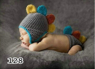 Newborn Baby Crochet Knitt Cute Dinosaur Photography Props Photo Costume Outfits