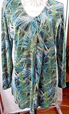 Plisse' Abstract Print in Greens and Blues Long Sleeve Crinkle Top Size L  EUC