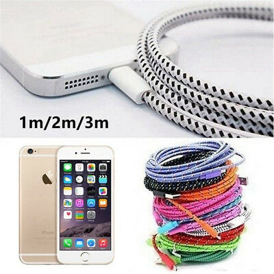 Braided USB Charger Cable Data Sync Cord For iPhone 6s iPhone 7 Plus iPhone X 8