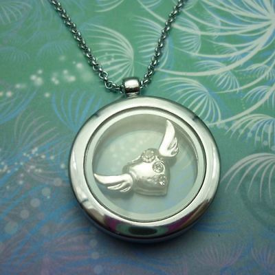 Floating Charm Locket Necklace with Big Angel Heart Charm Wings with Jewels