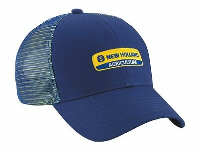 New Holland Blue Trademark Logo Cap With Dual Rear Mesh Back & Cotton Front New