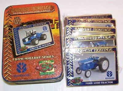 FORD TRACTOR METAL HARVEST HERITAGE COLLECTOR CARDS x6 IN A TIN NEW 1995