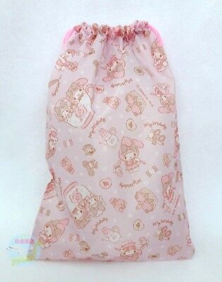 NEW! SANRIO My Melody KAWAII Drawstring Bag Pouch Case Light with Gusset Bottom