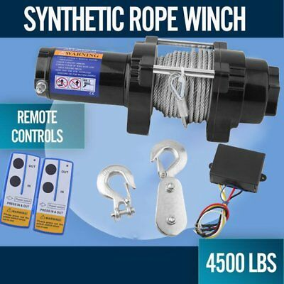 Wireless 4500LBS/2041kg 12V Electric Winch Boat ATV 4WD Steel Cable 2 Remote AU.