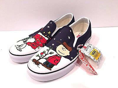 eae4c51dac Vans Slip On Peanuts Limited Snoopy   A Charlie Brown Christmas Tree Men s  Shoes