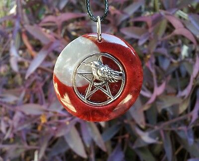 Raven Pentacle and Moon Necklace, Wiccan Jewelry, Pagan, Symbolic, Spiritual