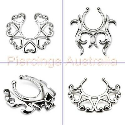 Non Piercing Clip On Nipple Ring Fake Piercing Jewellery CHOOSE SINGLE OR PAIR