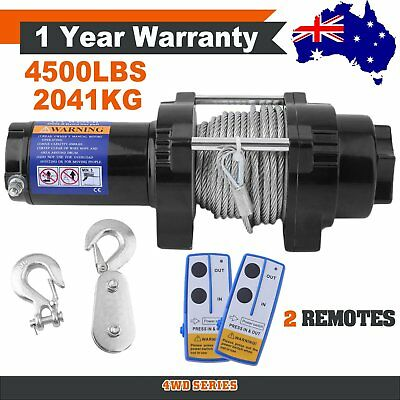 Wireless 4500LBS/2041kg 12V Electric Winch Boat ATV 4WD Steel Cable 2 Remote H