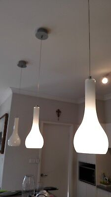 3x IN TOTAL white glass drop pendant ceiling lights