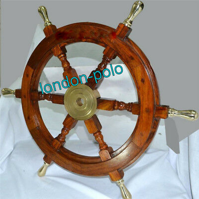 "Boat Ships Captains Nautical Ship Wheel 18"" Wooden Steering Christmas Gift"