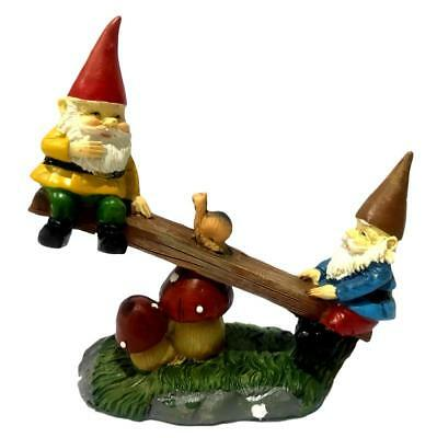 12cm Seesaw Gnomes Playing Gnome Ornament Figurine Indoor Outdoor Garden Decor