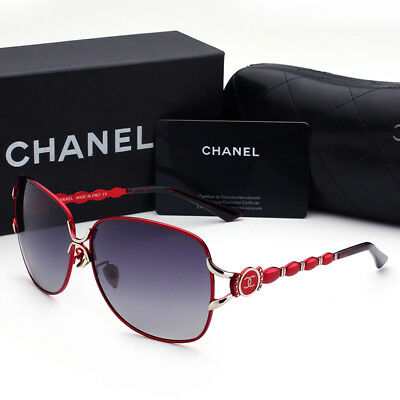 Sunglasses Polarized¹Chanel¹Wine Red Frame Double Gray Chip Lens2018