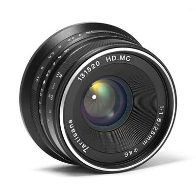 7artisans 25mm F1.8 Black Manual Focus Lens For Panasonic / Olympus M4/3 Mount
