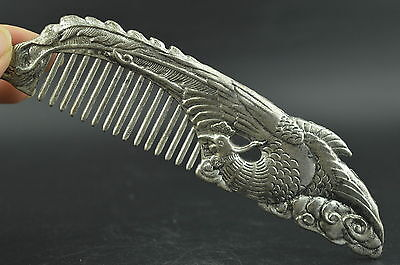 China Old Collectibles Miao Silver Carving Phoenix Rare Lucky Noble Comb