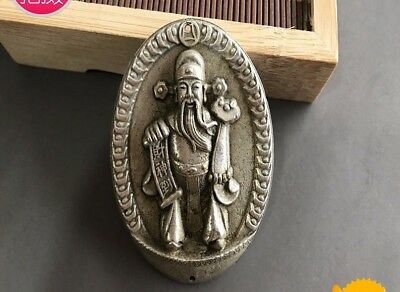 Chinese Fengshui silver Copper god of wealth come Boddhisattva Pendant Amulet