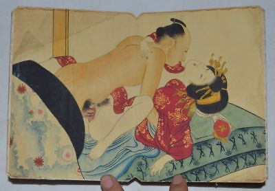 """Japan OLD ALBUM FLODING BOOK """"Couples Story"""" FOLK TRADITIONAL PAINTING 27"""