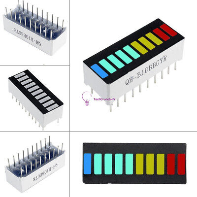 2 PCS 10 Segment LED Bargraph Light Display LED Red Yellow Green Blue