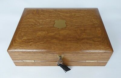 Antique Solid Figured Oak Correspondence / Writing Box with Key