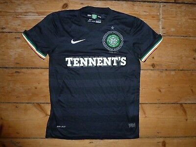 Glasgow CELTIC FC Away Black Football Shirt 125th Year Top Soccer Jersey size:-M