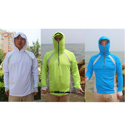 Mens Sun UV Protection Quick Dry Hooded Fishing Shirts Top with Thumb Hole