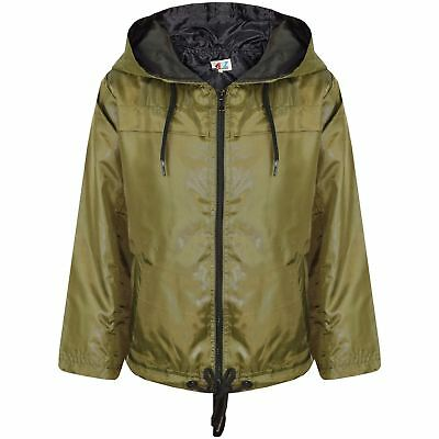 Kids Girls Boys Olive Hooded Raincoats Cagoule Lightweight Jacket Rain Mac 5-13Y