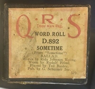 Pianola -Piano Roll- Sometime -BALLAD- Ted Baxter - World Roll- Q.R.S D.892